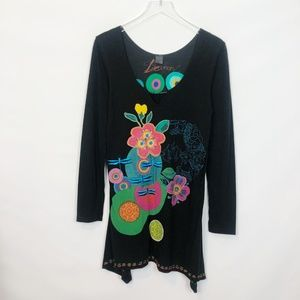 Desigual Tops - Desigual Dragonfly Printed Embroidered Tunic Large